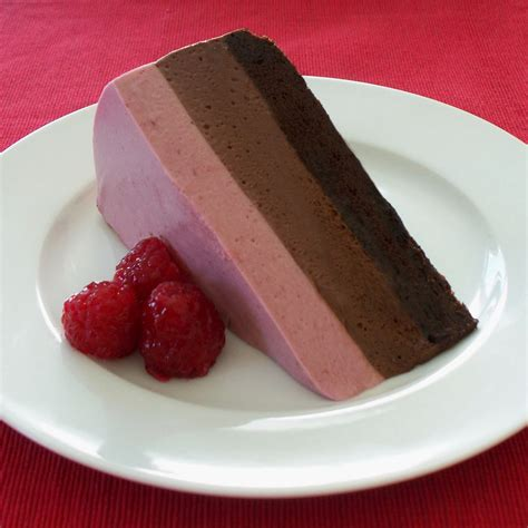 raspberry chocolate three layer chocolate cherry mousse cake hungry happenings