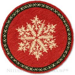 Hooked Rugs Round Red Snowflake Holiday Rug