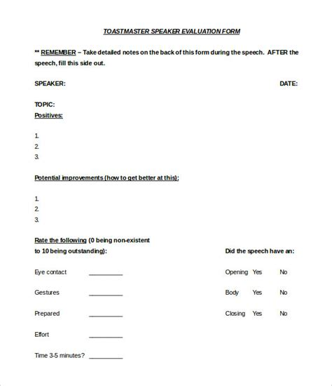 speech evaluation form templates toastmaster evaluation template 20 free word pdf