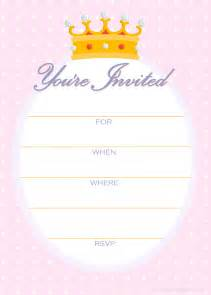 free printable invitations free invitations for a princess birthday