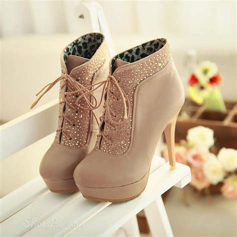 lace high heels shoes chic lace up high heels boots with rhinestone shoespie