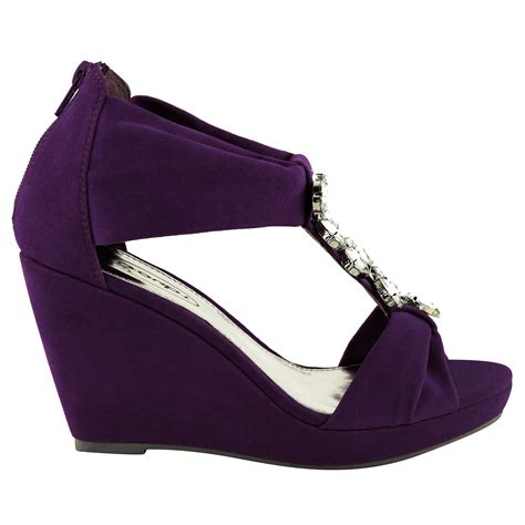 new womens summer wedge sandals diamante gem