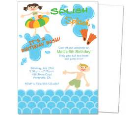 pool birthday invitations template best template collection
