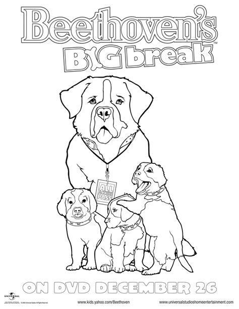 Collection of Beethoven Dog Coloring Page | Beethoven Coloring Page ...