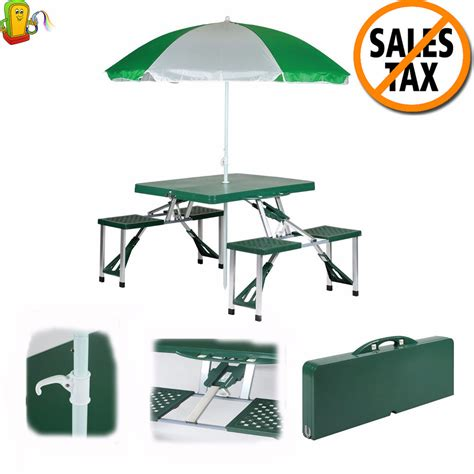 Portable Folding Picnic Table Picnic Table Set Folding Portable Table Umbrella 4 Seat Outdoor Cing Ebay