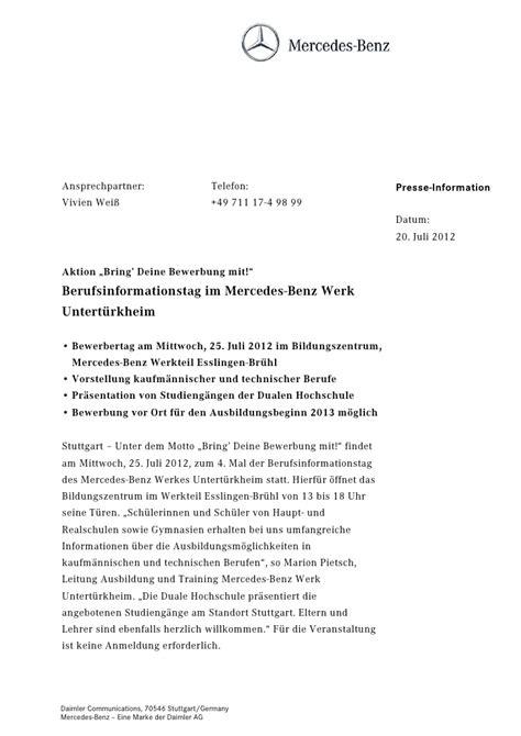 Bewerbungsschreiben Ferienjob Mercedes Bewerbung Daimler Lebenslauf