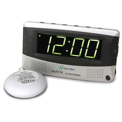 sonic alert sonic boom sbr350ss radio alarm clock with bed shaker harris communications