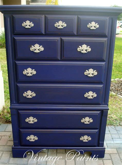 midnight navy blue chest of drawers distressed painted from vintage paints all dressered up