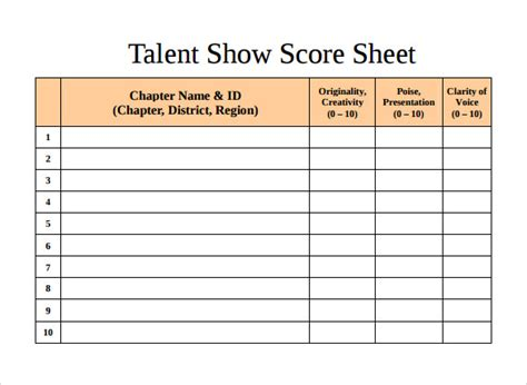 Gymnastics Judges Score Card Template by 10 Talent Show Score Sheet Sles Sle Templates