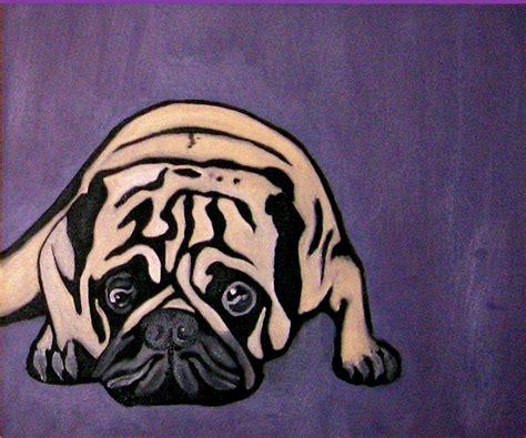 pug stein purple pug painting by darren stein