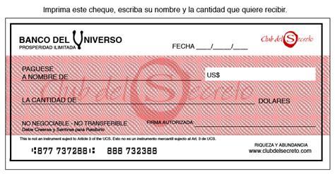 imagenes de cheques en blanco banco del universo cheques