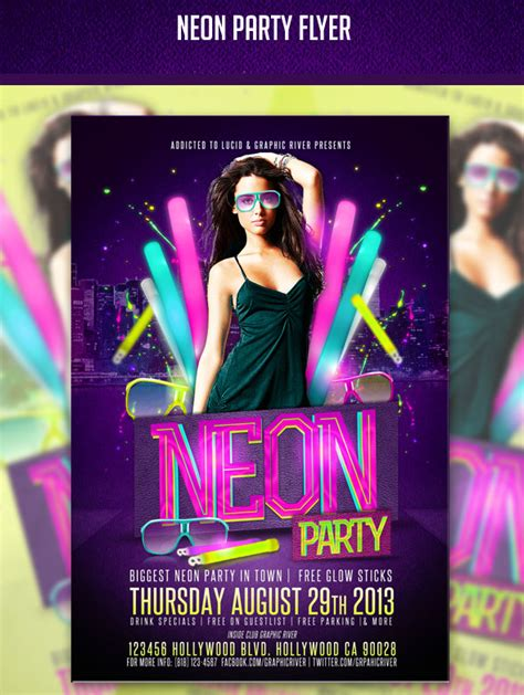 Neon Party Flyer Psd By Addictedtolucid On Deviantart Neon Flyer Template Free