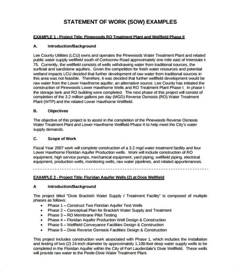 Statement Of Work Exle Free Download Chlain College Publishing Sow Template Pdf