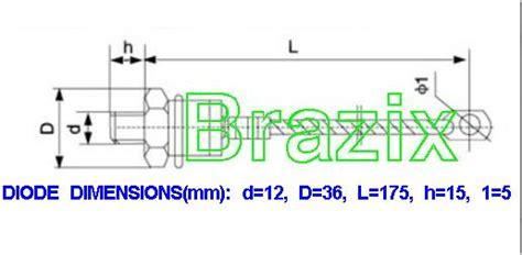 blocking diode with heatsink rectifier positive blocking diode stud 50a with heatsink brx12dst50a brazix dc timer
