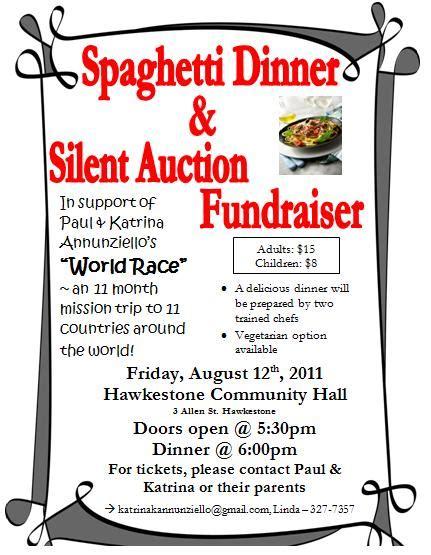 Spaghetti Dinner Silent Auction Spaghetti Dinner Fundraiser Flyer Template