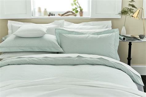Sanderson Blinds Uk Duck Egg Blue Gingham Check Double Duvet Covers At Bedeck 1951