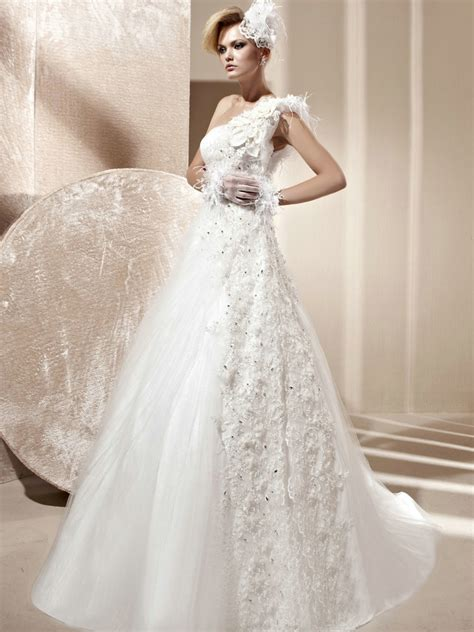 Beaded Lace A Line Dress tulle a line beaded lace one shoulder wedding dress with