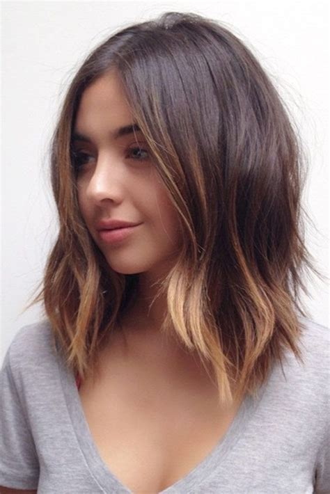 short hair just above the shoulders layered with a fringe 27 pretty shoulder length hair styles shoulder length