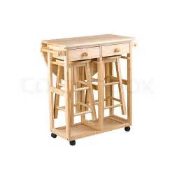 folding and movable wooden table with drawers for small