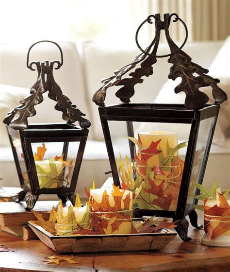 fall decor leaf lantern
