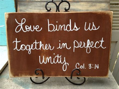 rustic brown  white love binds    perfect unity scripture wedding sign decor