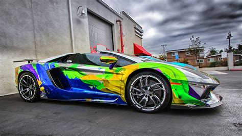 colorful car wallpaper lamborghini aventador car color design hd wallpaper