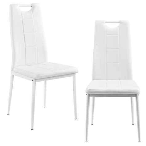 Ebay White Dining Chairs En Casa 2 X Chairs White High Back Dining Room Faux Leather Upholstered Chair Ebay