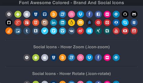 font awesome color font awesome colored brand and social icons