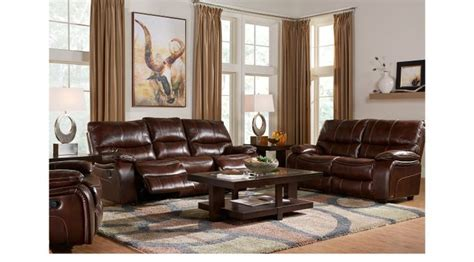 cindy crawford living room sets 2 549 99 gianna brown leather 5 pc living room
