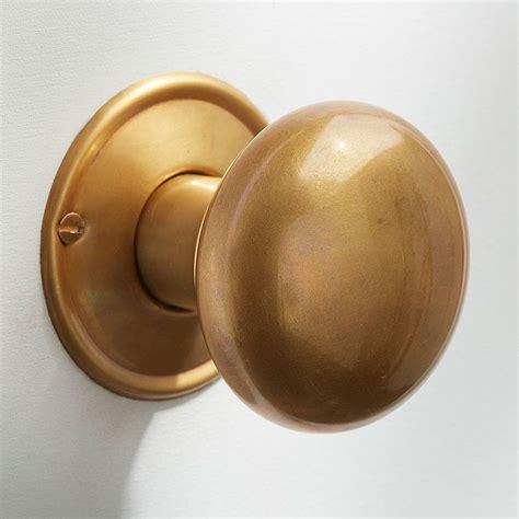 Satin Brass Door Knobs by Bun Door Knobs 56mm Antique Satin Brass Broughtons Of