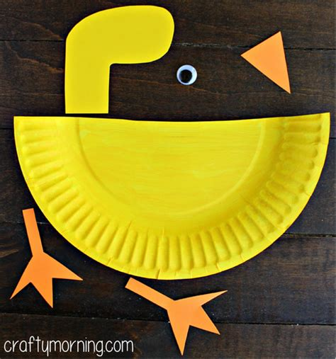 Duck Paper Craft - paper plate duck craft for crafty morning