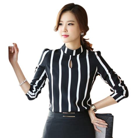 Blouse Fashion Korea 420103 5 aliexpress buy 2016 korean style fashion sleeve hollow out striped blouse