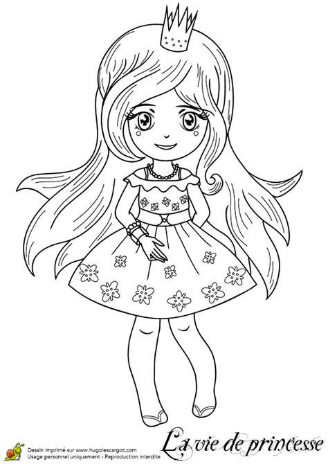 Coloriage d'une princesse en petite robe d'été