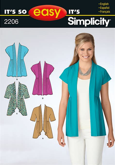 dressmaking pattern ease simplicity 2206 it s so easy misses knit cardigan