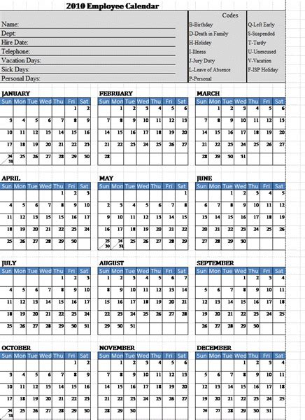 2013 Employee Attendance Calendar Template 2016 Calendar