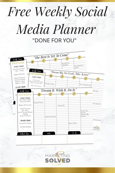 social media planner free weekly social media planners done for you
