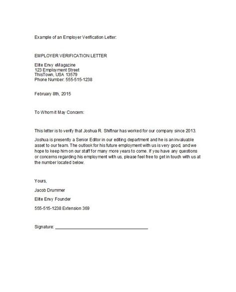 Letter For Work Proof 40 proof of employment letters verification forms templates sles free template downloads