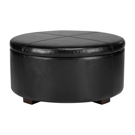 round black leather ottoman with storage and black wooden