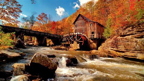 water mill   autumn forest hd wallpaper wallpaper