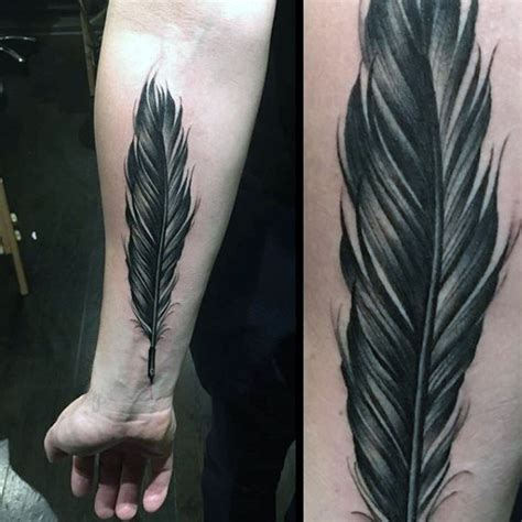 realistic feather tattoo designs 70 feather designs for masculine ink ideas