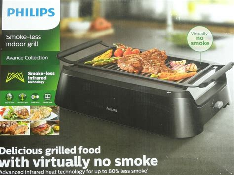 box philips avance collection smoke  indoor grill hd ebay