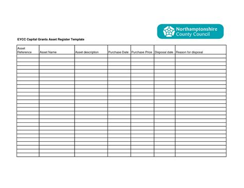 asset register card templates 8 best images of asset list template excel asset