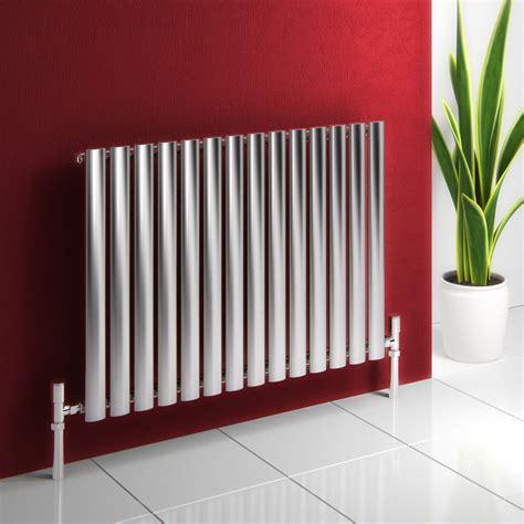 Designer Kitchen Hoods reina nerox brushed stainless steel tubular radiator 600mm