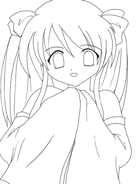 Anime Kawaii Girl Lineart By Riiko23 On Deviantart Simple Anime Coloring