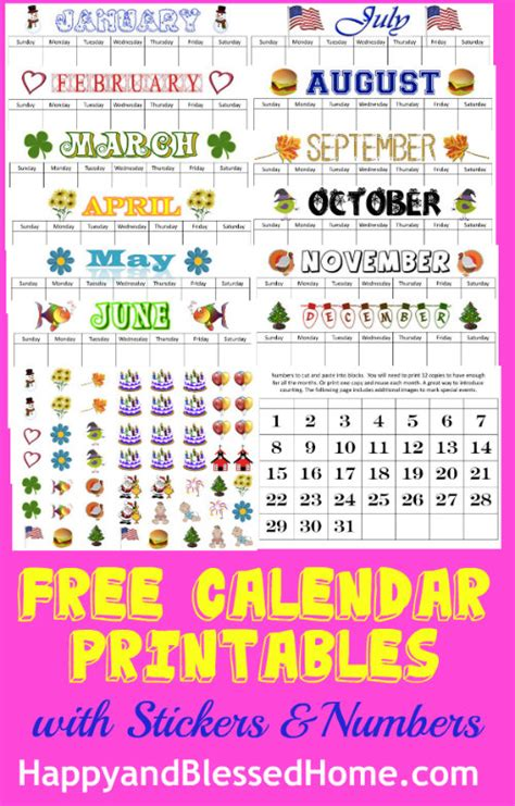 printable monthly calendar numbers preschool circle time morning board printable set happy