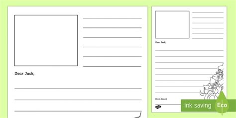 Jack And The Beanstalk Letter From The Giant Writing Frame Thank You Letter Template Twinkl
