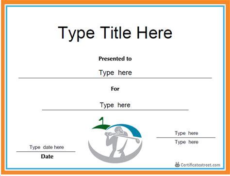 golf certificate templates certificate free award certificate templates no