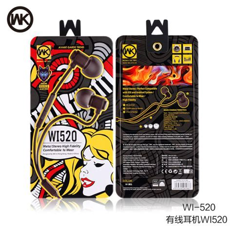 Wk Wired Stereo Earphone With Microphone Wi300 wk wired stereo earphone with microphone wi520 black jakartanotebook