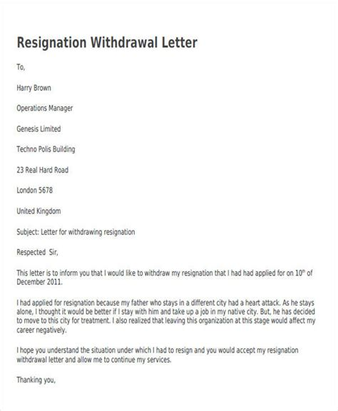 voluntary withdrawal letter how to withdraw resignation