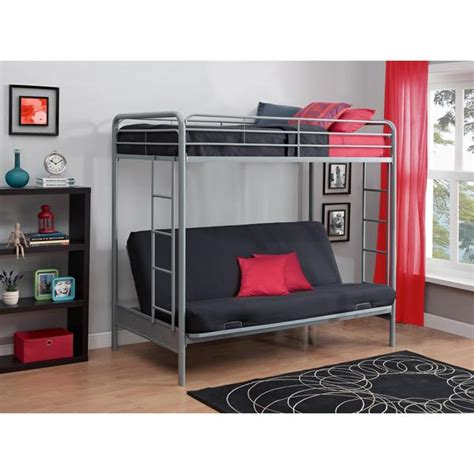 bunk beds couch bottom dhp twin above futon silver metal bunk bed overstock